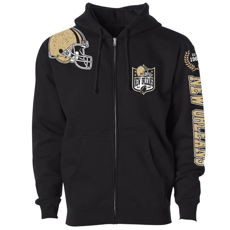 Men's Football Home Team Zip Up Hoodie-S-New Orleans-Daily Steals