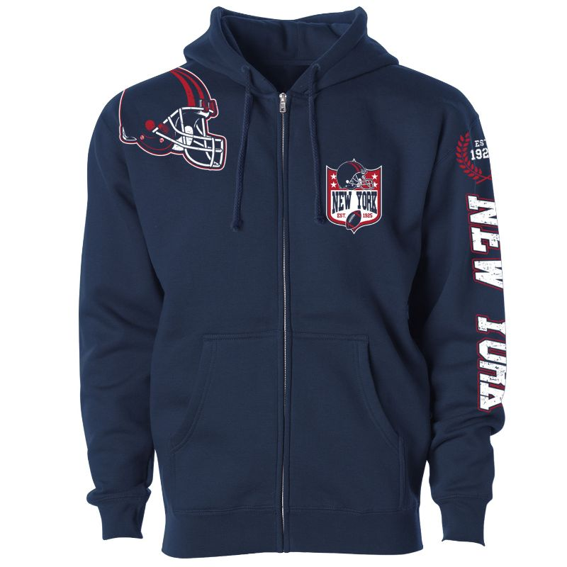 Men's Football Home Team Zip Up Hoodie-M-New York-Daily Steals