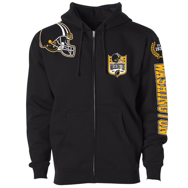 Men's Football Home Team Zip Up Hoodie-L-Washington-Daily Steals