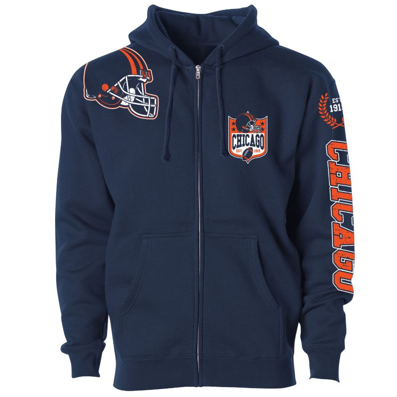 Men's Football Home Team Zip Up Hoodie-S-Chicago-Daily Steals