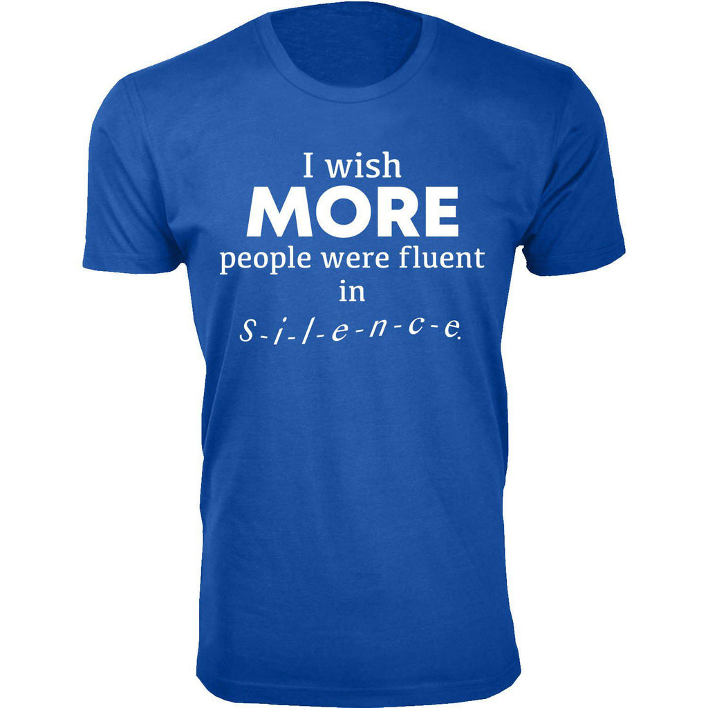 Daily Steals-Men's I Wish More People Were Fluent in Silence Humor T-shirts-Men's Apparel-Royal Blue-2X-Large-
