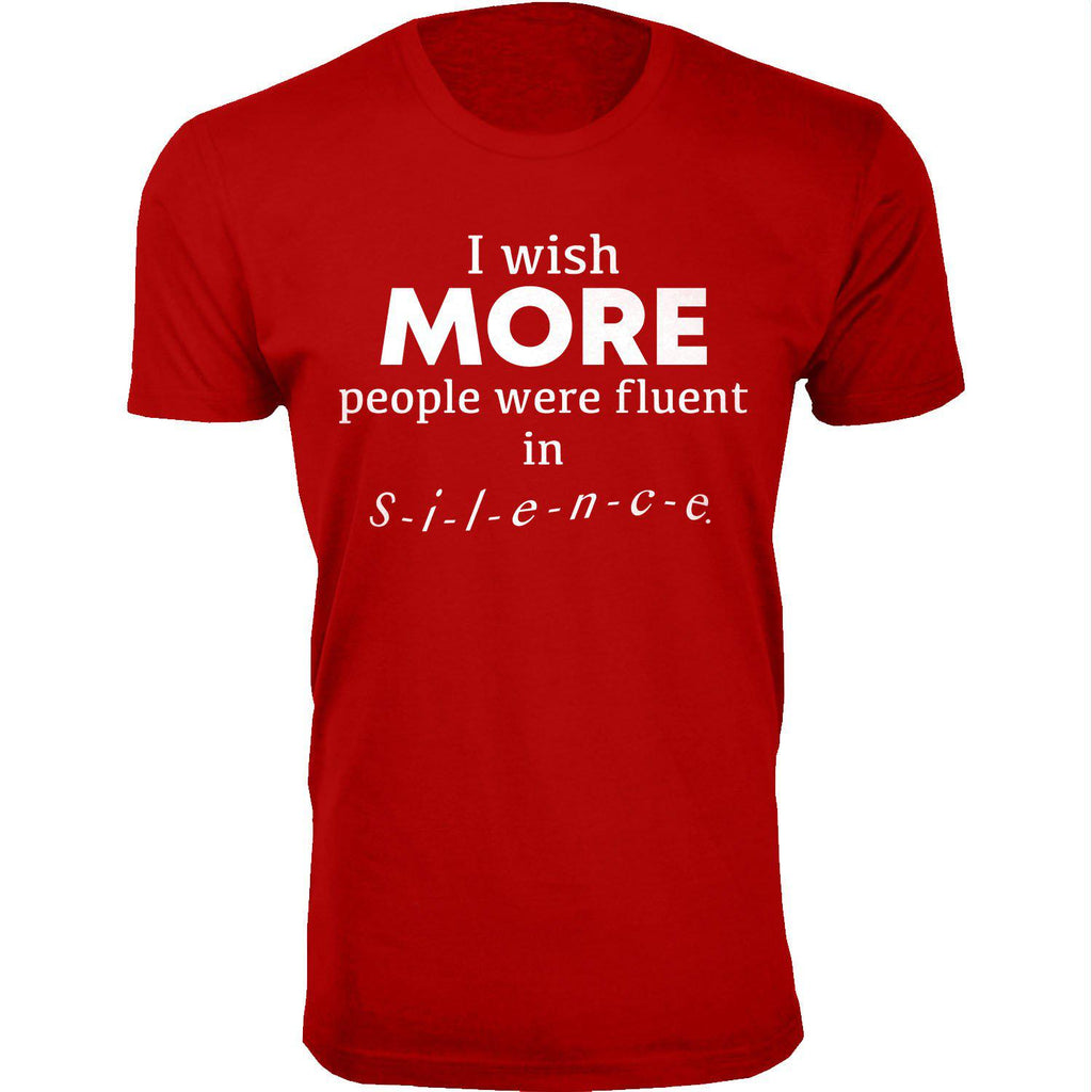 Daily Steals-Men's I Wish More People Were Fluent in Silence Humor T-shirts-Men's Apparel-Red-2X-Large-