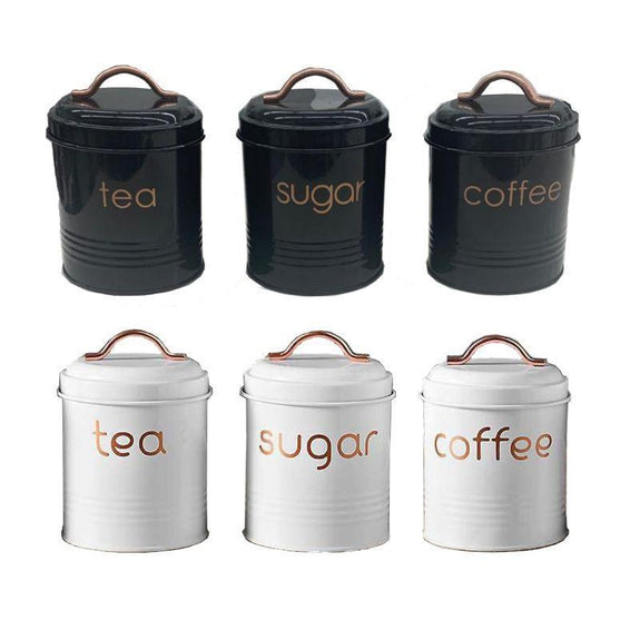 Coffee Tea Sugar Canister - 3 or 6 Piece Set-6 Piece Set Black & White-