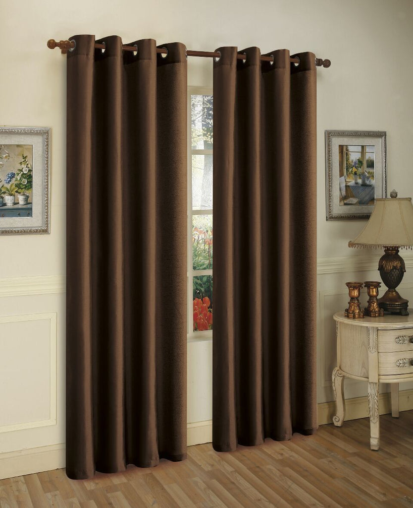 Mira Faux Silk Curtains with Bronze Grommets - 3 Panels-Coffee-Daily Steals