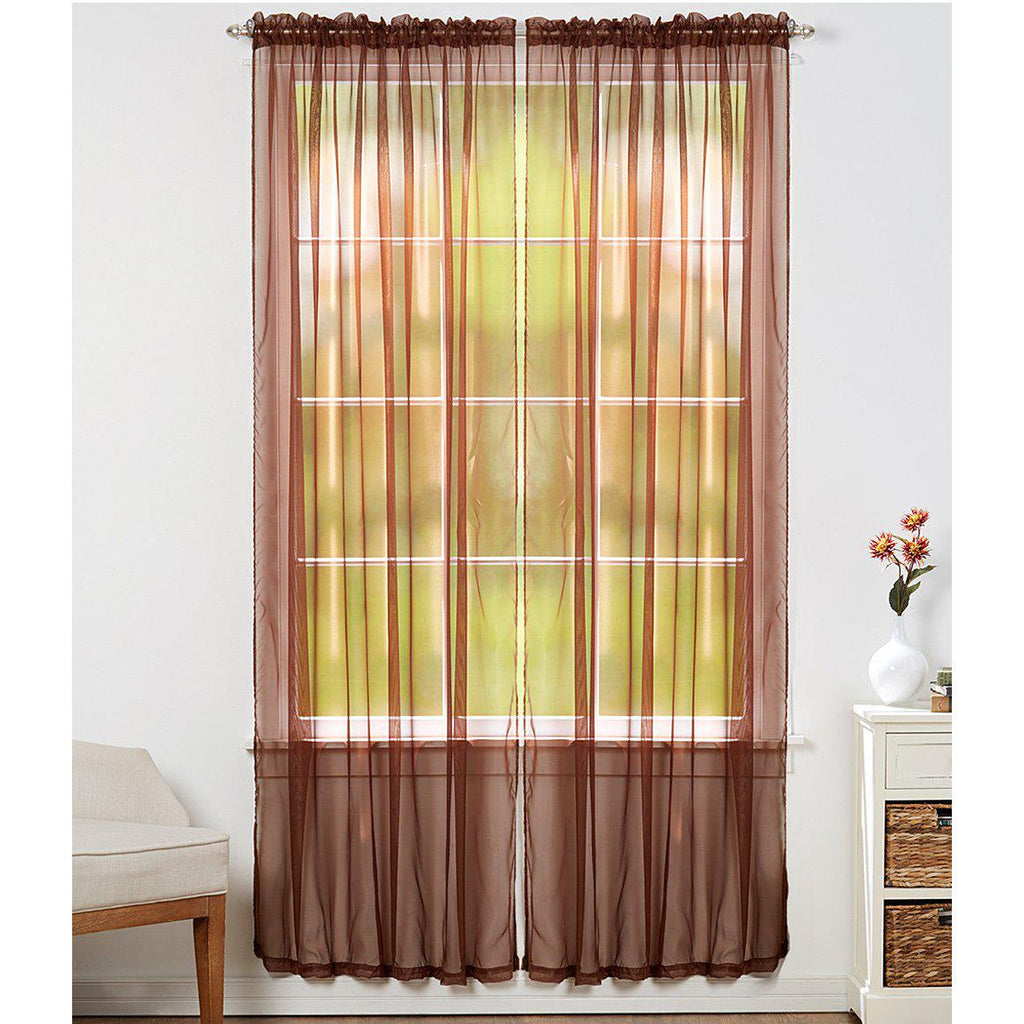 Linda Sheer Voile Curtain Panels - Various Colors - 4-Pack-COFFEE-Daily Steals