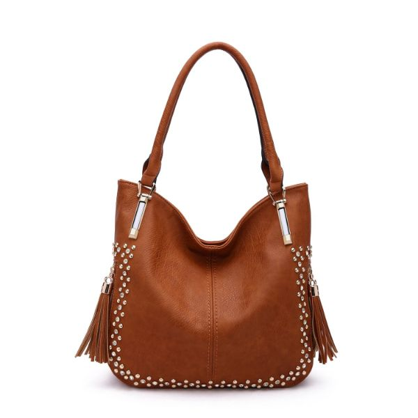 MKF Collection Betsy Shoulder Bag by Mia K. Farrow-Cognac Brown-Studded-Daily Steals