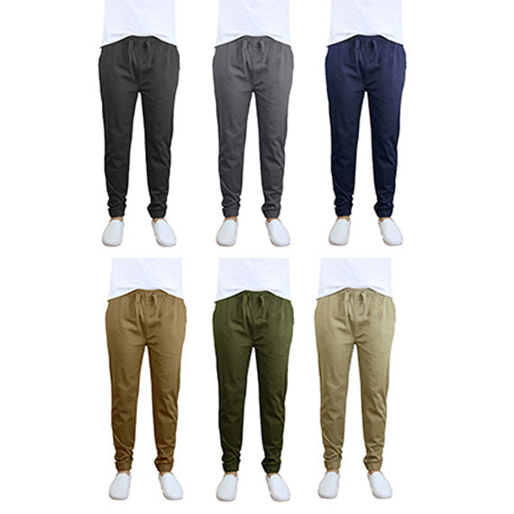 100% Cotton Men's Cotton Stretch Twill Joggers - Single or 2-Pack-Daily Steals