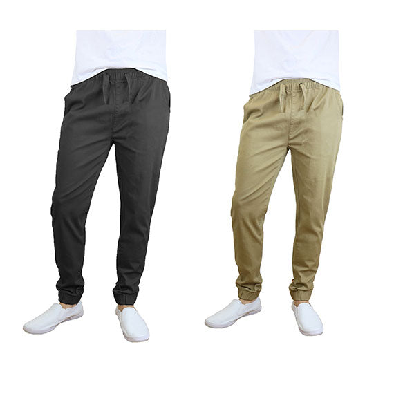 100% Cotton Men's Cotton Stretch Twill Joggers - Single or 2-Pack-Black-Khaki-S-Daily Steals