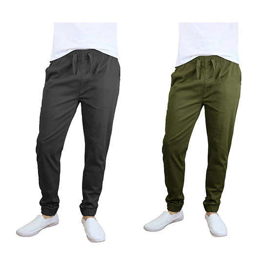 100% Cotton Men's Cotton Stretch Twill Joggers - Single or 2-Pack-Black-Olive-S-Daily Steals