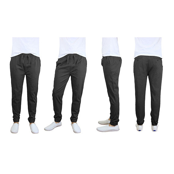 100% Cotton Men's Cotton Stretch Twill Joggers - Single or 2-Pack-Black-S-Daily Steals