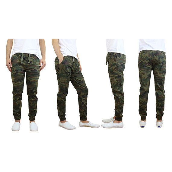 100% Cotton Men's Cotton Stretch Twill Joggers - Single or 2-Pack-Woodland-S-Daily Steals