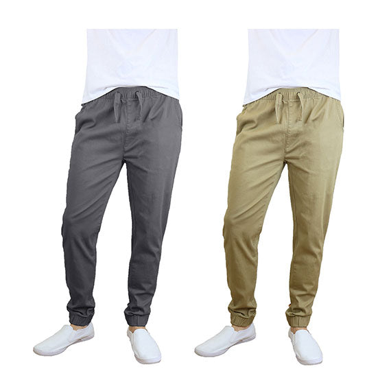 100% Cotton Men's Cotton Stretch Twill Joggers - Single or 2-Pack-Dark Grey-Khaki-S-Daily Steals