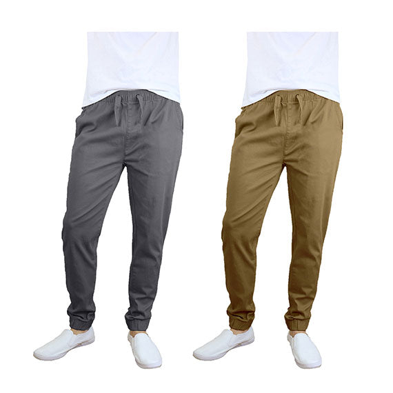 100% Cotton Men's Cotton Stretch Twill Joggers - Single or 2-Pack-Dark Grey-Timber-S-Daily Steals