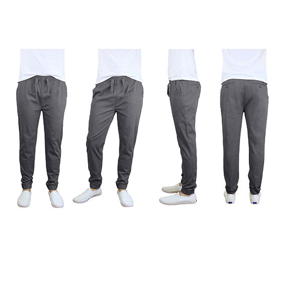 100% Cotton Men's Cotton Stretch Twill Joggers - Single or 2-Pack-Dark Grey-S-Daily Steals