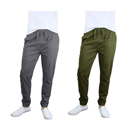 100% Cotton Men's Cotton Stretch Twill Joggers - Single or 2-Pack-Olive-Dark Grey-S-Daily Steals