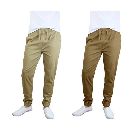 100% Cotton Men's Cotton Stretch Twill Joggers - Single or 2-Pack-Khaki-Timber-M-Daily Steals