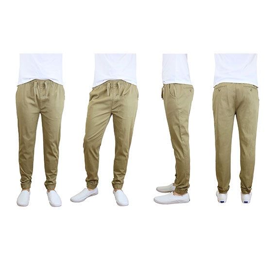100% Cotton Men's Cotton Stretch Twill Joggers - Single or 2-Pack-Khaki-S-Daily Steals