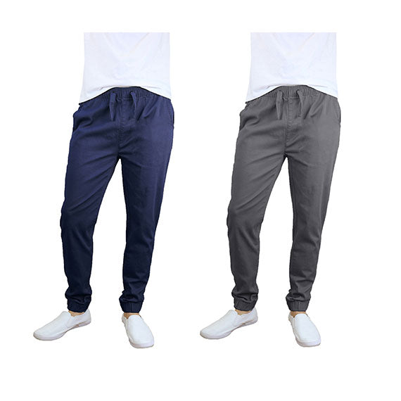 100% Cotton Men's Cotton Stretch Twill Joggers - Single or 2-Pack-Navy-Dark Grey-S-Daily Steals