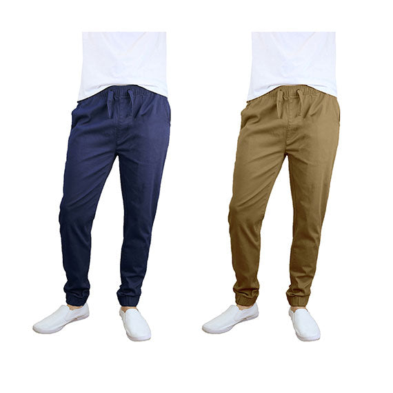 100% Cotton Men's Cotton Stretch Twill Joggers - Single or 2-Pack-Navy-Timber-S-Daily Steals