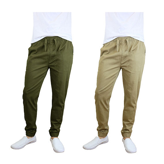 100% Cotton Men's Cotton Stretch Twill Joggers - Single or 2-Pack-Olive-Khaki-S-Daily Steals