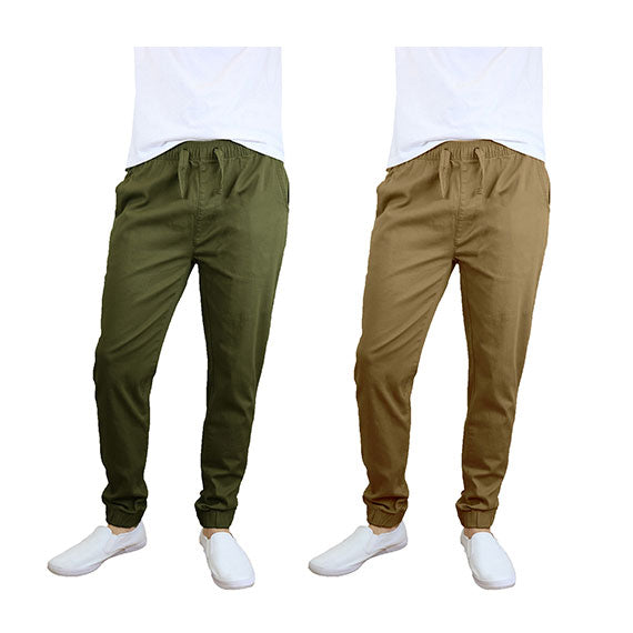 100% Cotton Men's Cotton Stretch Twill Joggers - Single or 2-Pack-Olive-Timber-L-Daily Steals