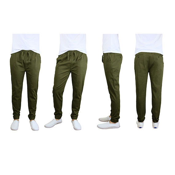 100% Cotton Men's Cotton Stretch Twill Joggers - Single or 2-Pack-Olive-S-Daily Steals
