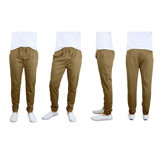 100% Cotton Men's Cotton Stretch Twill Joggers - Single or 2-Pack-Timber-S-Daily Steals