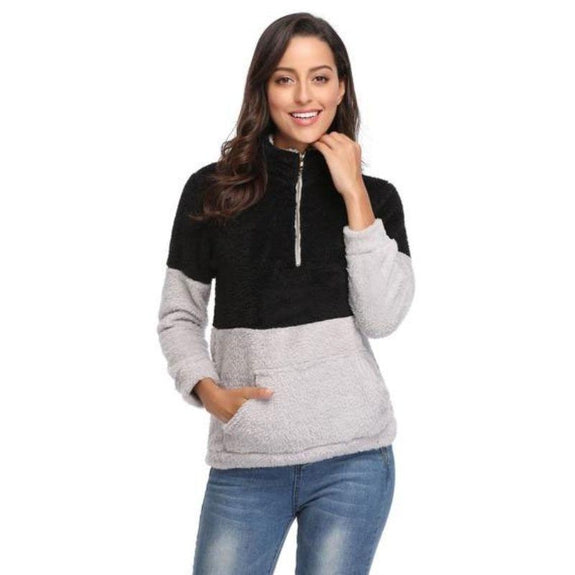 Color Block Pullover Shirt with Collar-Black-Large-Daily Steals