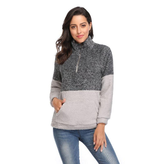 Color Block Pullover Shirt with Collar-Grey-Large-Daily Steals
