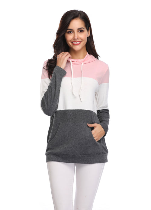 de2e5e7b493b16 Daily Steals-Color Block Long Sleeve Hoodie with Pockets-Women s  Apparel-Pink-