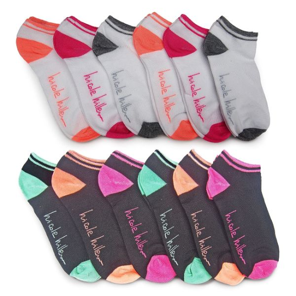 Nicole Miller Women's No Show Socks - 24 Pairs-Colored Heel & Toe-Daily Steals