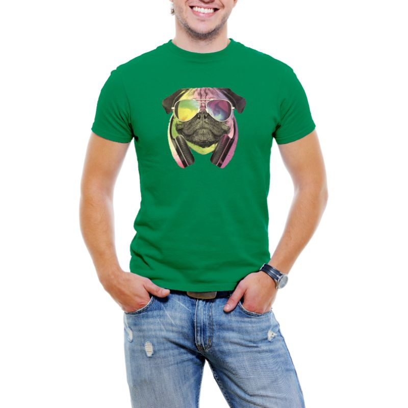 Colorful D.J Pug Men's T-Shirt-Green-4XL-Daily Steals