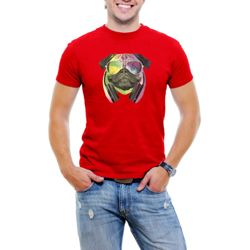 Colorful D.J Pug Men's T-Shirt-Red-4XL-Daily Steals