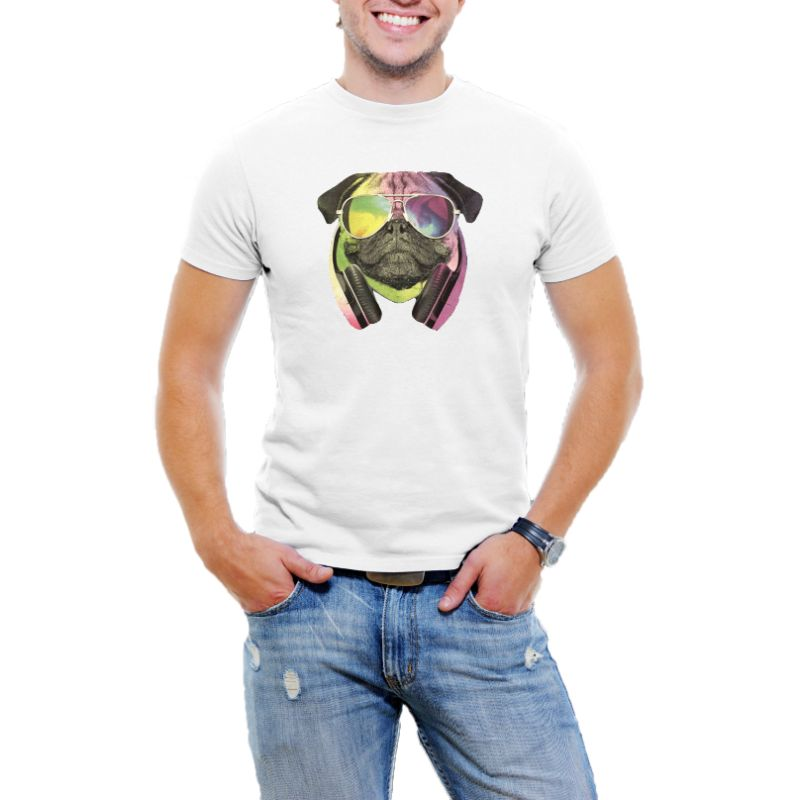 Colorful D.J Pug Men's T-Shirt-White-S-Daily Steals