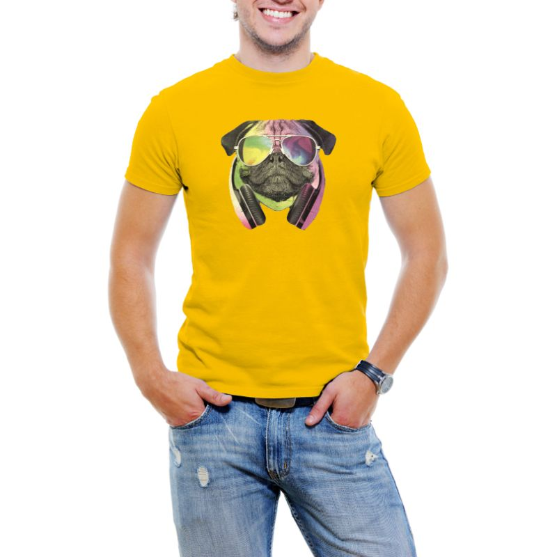 Colorful D.J Pug Men's T-Shirt-Yellow-S-Daily Steals