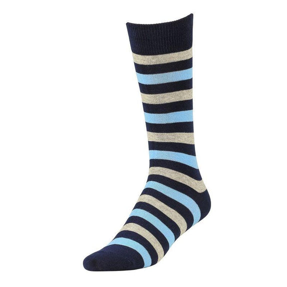 Comfortable Bamboo Dress Mens Socks - 6 Pack-Stripe Blue-Daily Steals