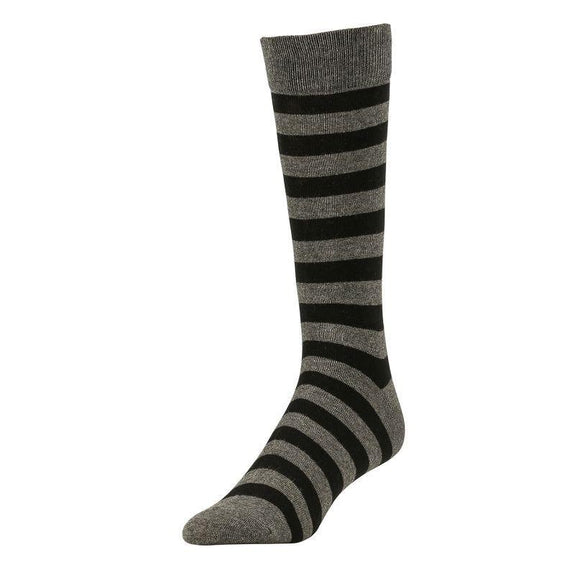 Comfortable Bamboo Dress Mens Socks - 6 Pack-Stripe Charcoal-Daily Steals