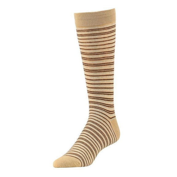 Comfortable Bamboo Dress Mens Socks - 6 Pack-Stripe Khaki-Daily Steals