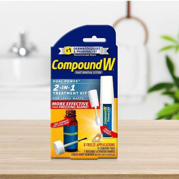 Compound W 2-in-1 Wart Removal Kit - Liquid Wart Remover w 8 Freeze Applications-