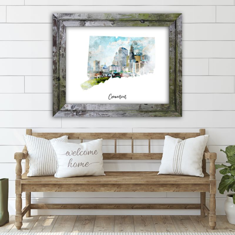 "Connecticut Watercolor Map Print - Unframed Art Print-18""x12""-Horizontal/Landscape-Daily Steals"