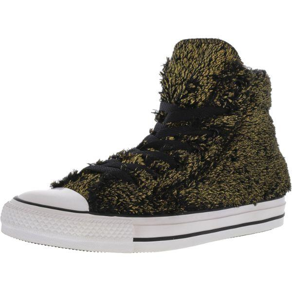Daily Steals-Converse Women's Chuck Taylor All Star Hi Gold / Black High-Top Canvas Sneakers - Adult Female Size 6M-Accessories-