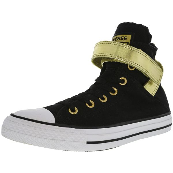 Converse Women's All Star Brea Black / Gold High-Top Leather Sneakers-6M-Daily Steals