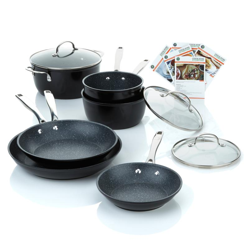 Curtis Stone DuraPan 9-piece Forged Nonstick Cookware Set-Black-Daily Steals