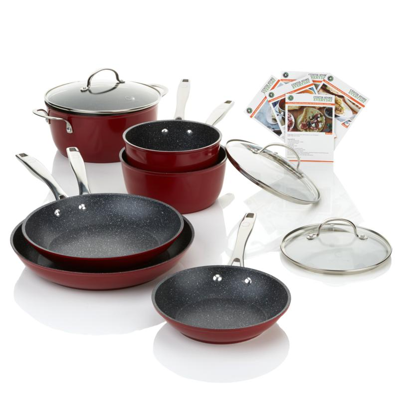 Curtis Stone DuraPan 9-piece Forged Nonstick Cookware Set-Red-Daily Steals