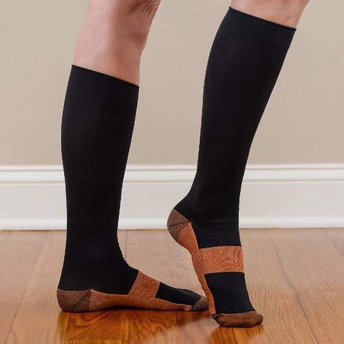 Daily Steals-[6-Pairs] Unisex Copper-Infused Pain-Relief Compression Socks - Black/Brown-Fitness and Wellness-L/XL-