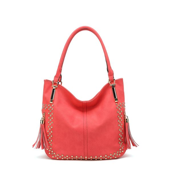 MKF Collection Betsy Shoulder Bag by Mia K. Farrow-Coral-Studded-Daily Steals
