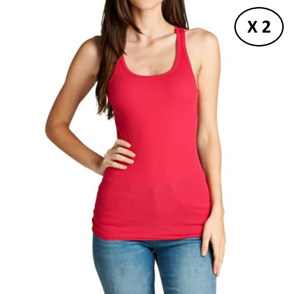 Women's 100% Cotton Daily Tank Top - 2 Pack-Coral-L-Daily Steals