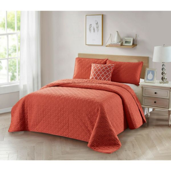 Bibb Home 4-Piece Solid Reversible Quilt Set-Coral-Full/Queen-Daily Steals
