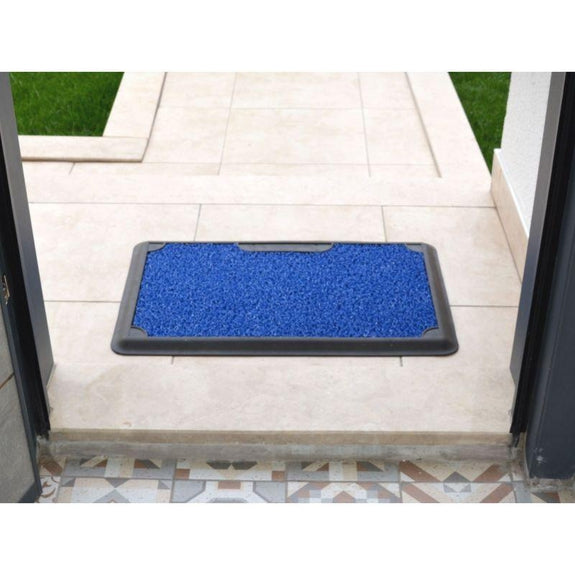 Corona Disinfectant Outdoor Mat with Removable Carpet - 45x70m-BLUE-
