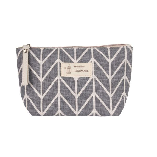 Stylish Pattern Cosmetic Pouch Bag-Grey & White Chevron-Daily Steals